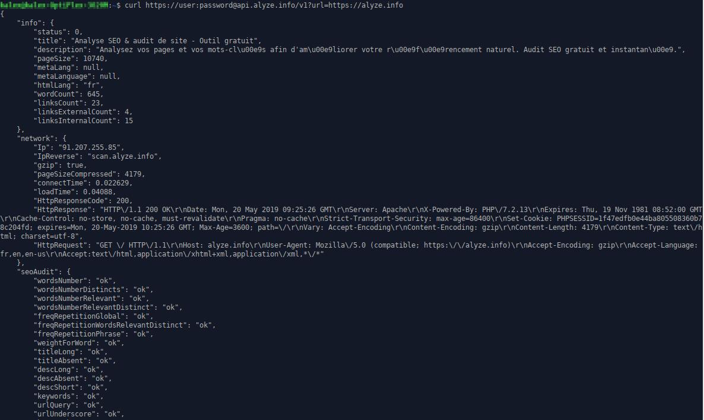 L'API avec cURL
