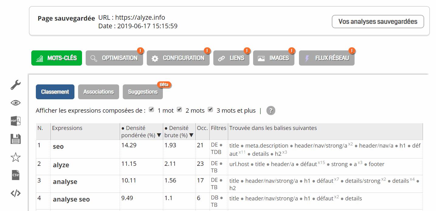 Affichage de l'analyse d'une page enregistrée.